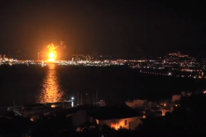 La Raffineria di Milazzo durante l'incendio del settembre 2014