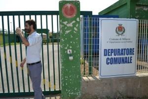 L'ingresso del depuratore di Milazzo durante ispezione di Villarosa (M5S)