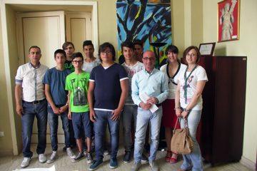 Il sindaco Formica con la delegazione del Majorana