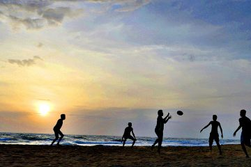Sri Lankan schoolchildren play rugby on ...Sri Lankan schoolchildren play rugby on a beach during sunset in Colombo on July 3, 2013. Sri Lanka's youth population aged 10 to 19 make up some 15 percent of its 20 million people.  AFP PHOTO / LAKRUWAN WANNIARACHCHILAKRUWAN WANNIARACHCHI/AFP/Getty Images