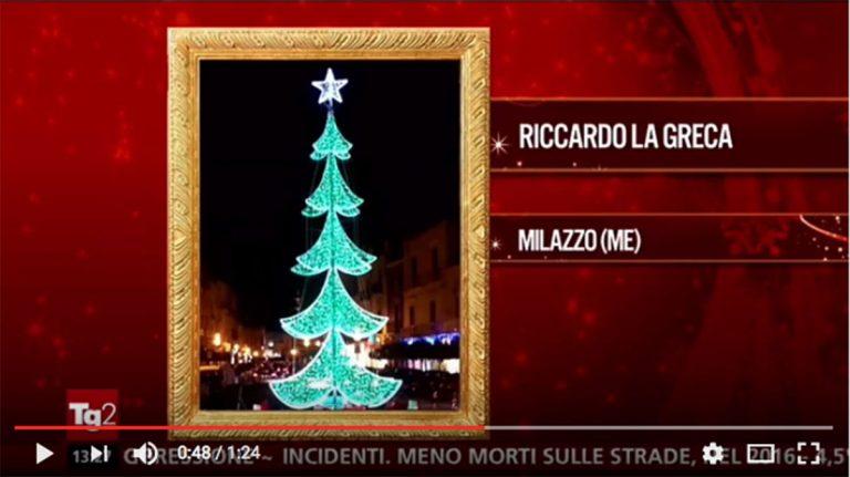 Milazzo al TG2, l'albero di Natale di Piazza Caio Duilio tra i più belli d'Italia