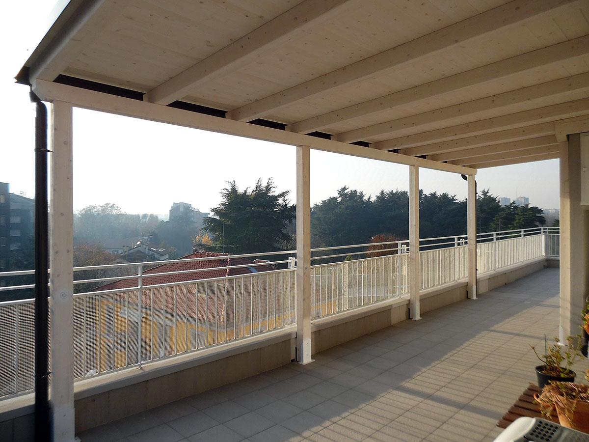 Copertura In Legno Bianco : Copertura terrazzo legno